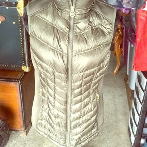 Michael Kors green quilted down vest
